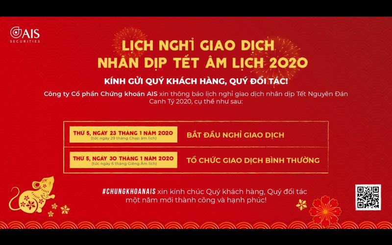 Thông báo lịch nghỉ giao dịch nhân dịp Tết Nguyên Đán Canh Tý 2020