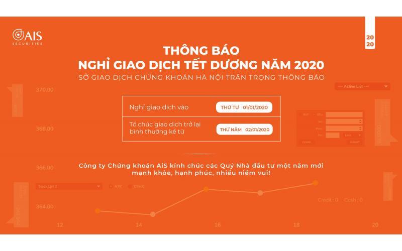 Thông báo: Về việc nghỉ giao dịch nhân dịp Tết Dương lịch 2020